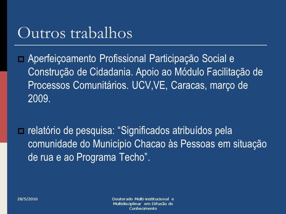 Outros trabalhos  Aperfeiçoamento Profissional Participação Social e Construção de Cidadania. Apoio ao Módulo Facilitação de Processos Comunitários.