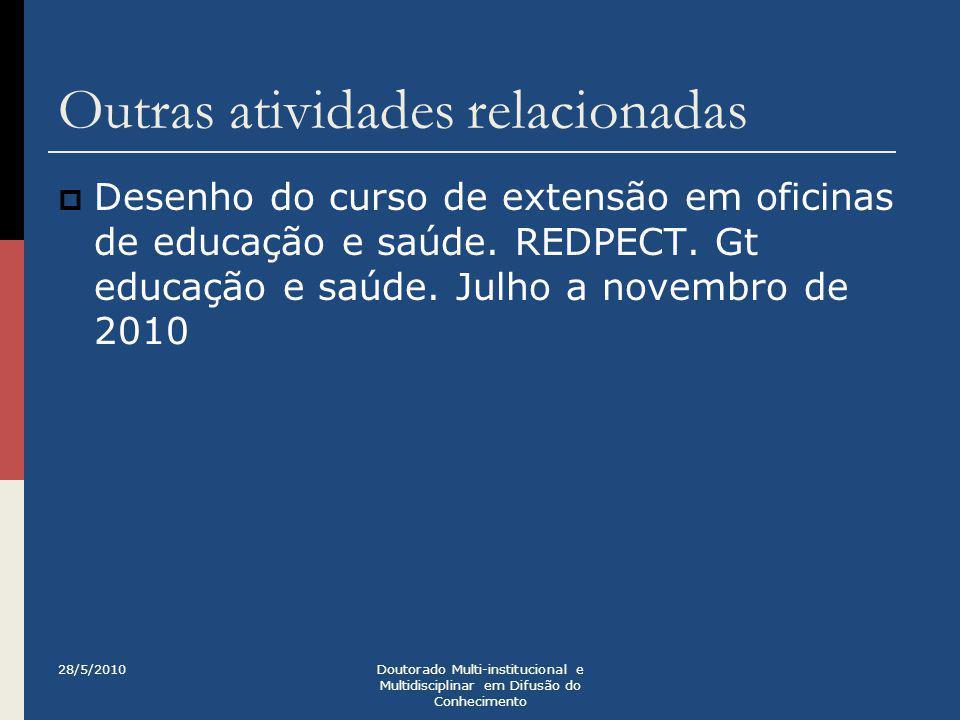 Outras atividades relacionadas  Desenho do curso de extensão em oficinas de educação e saúde. REDPECT. Gt educação e saúde. Julho a novembro de 2010