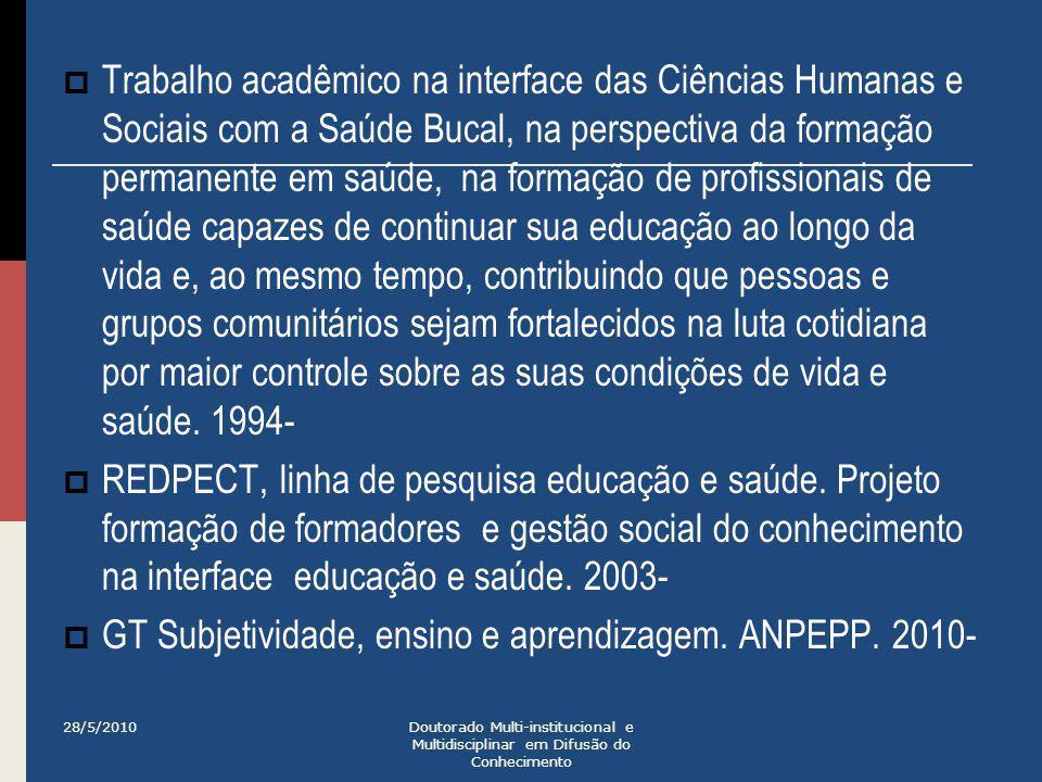  Trabalho acadêmico na interface das Ciências Humanas e Sociais com a Saúde Bucal, na perspectiva da formação permanente em saúde, na formação de pro