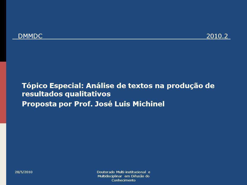 Tópico Especial: Análise de textos na produção de resultados qualitativos Proposta por Prof. José Luis Michinel 28/5/2010Doutorado Multi-institucional
