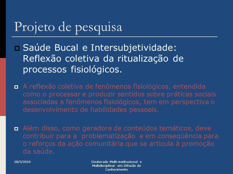 Projeto de pesquisa  Saúde Bucal e Intersubjetividade: Reflexão coletiva da ritualização de processos fisiológicos.  A reflexão coletiva de fenômeno