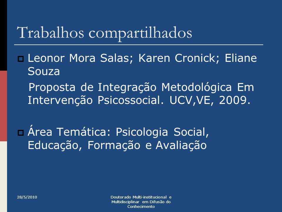 Trabalhos compartilhados  Karen Cronick; Leonor Mora Salas; Eliane Souza Pessoas sem teto: avaliação inicial de dois programas.