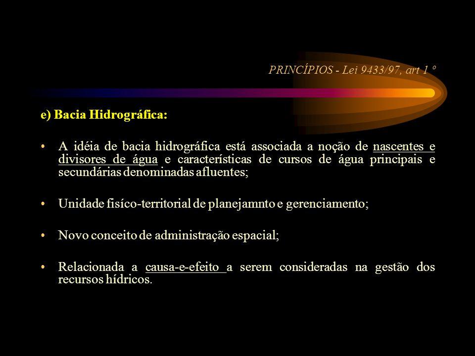 PRINCÍPIOS - Lei 9433/97, art 1 º e) Bacia Hidrográfica: •A idéia de bacia hidrográfica está associada a noção de nascentes e divisores de água e cara