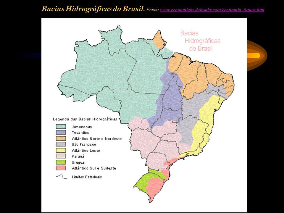 Bacias Hidrográficas do Brasil. Fonte: www.economiabr.defesabr.com/economia_futuro.htmwww.economiabr.defesabr.com/economia_futuro.htm