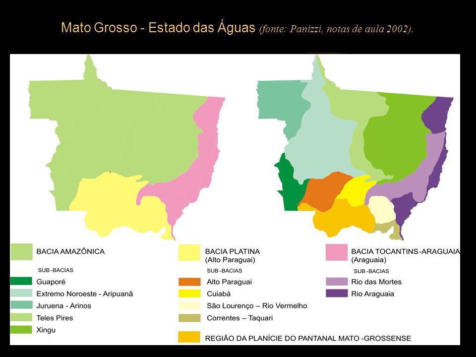 Mato Grosso - Estado das Águas (fonte: Panizzi, notas de aula 2002).