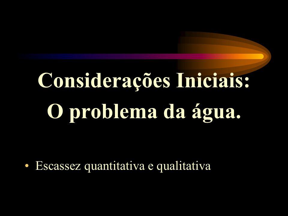 Considerações Iniciais: O problema da água. •Escassez quantitativa e qualitativa