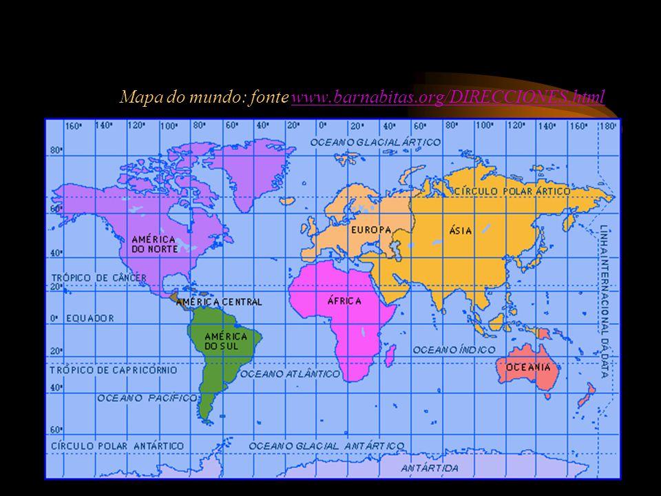 Mapa do mundo: fonte www.barnabitas.org/DIRECCIONES.htmlwww.barnabitas.org/DIRECCIONES.html