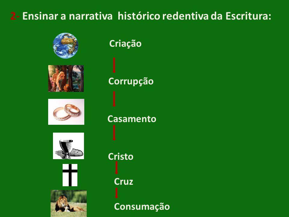 2- Ensinar a narrativa histórico redentiva da Escritura: Criação Corrupção Casamento Cristo Cruz Consumação