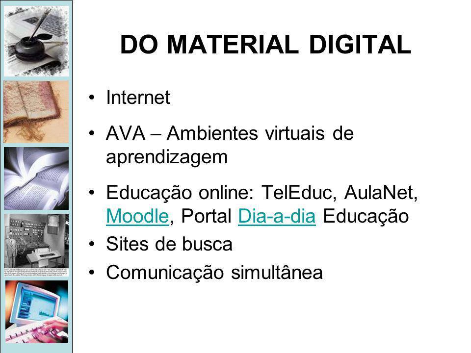 DO MATERIAL DIGITAL •Internet •AVA – Ambientes virtuais de aprendizagem •Educação online: TelEduc, AulaNet, Moodle, Portal Dia-a-dia Educação MoodleDia-a-dia •Sites de busca •Comunicação simultânea