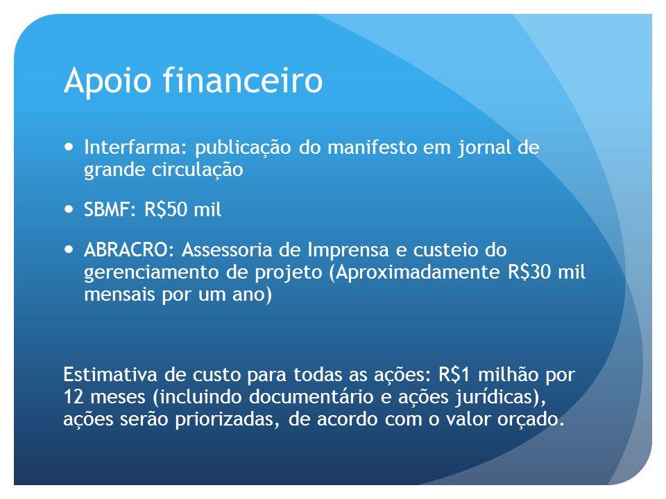 Apoio financeiro  Interfarma: publicação do manifesto em jornal de grande circulação  SBMF: R$50 mil  ABRACRO: Assessoria de Imprensa e custeio do