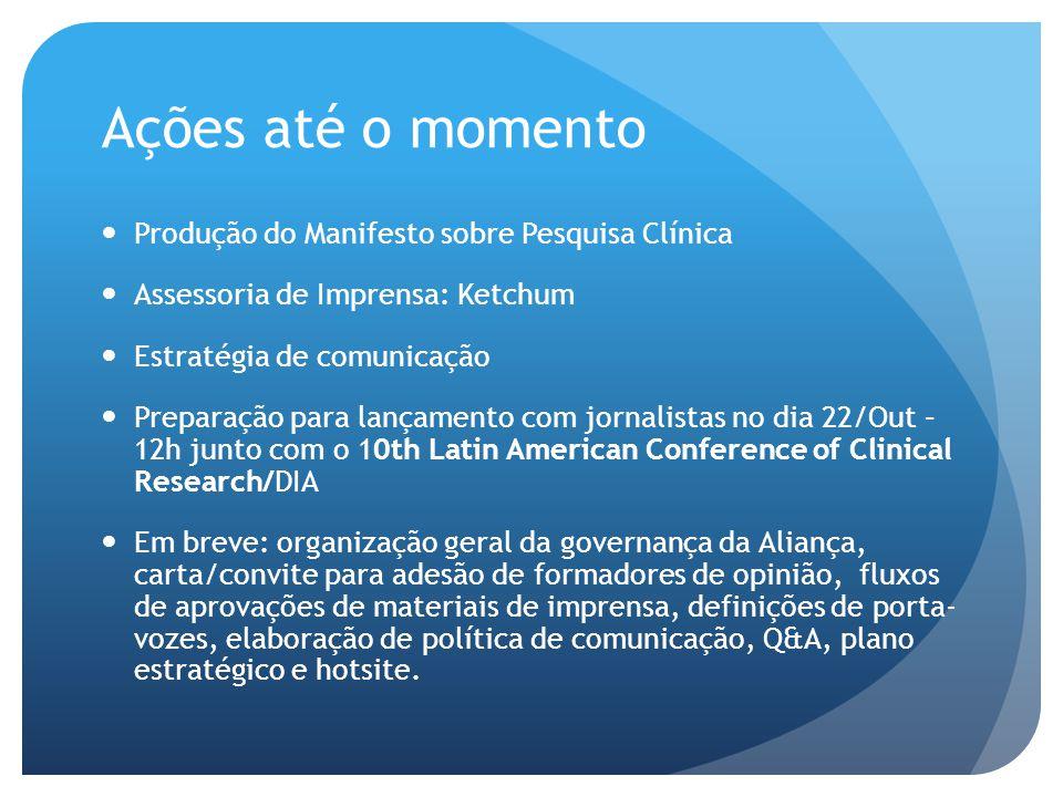 Ações até o momento  Produção do Manifesto sobre Pesquisa Clínica  Assessoria de Imprensa: Ketchum  Estratégia de comunicação  Preparação para lan