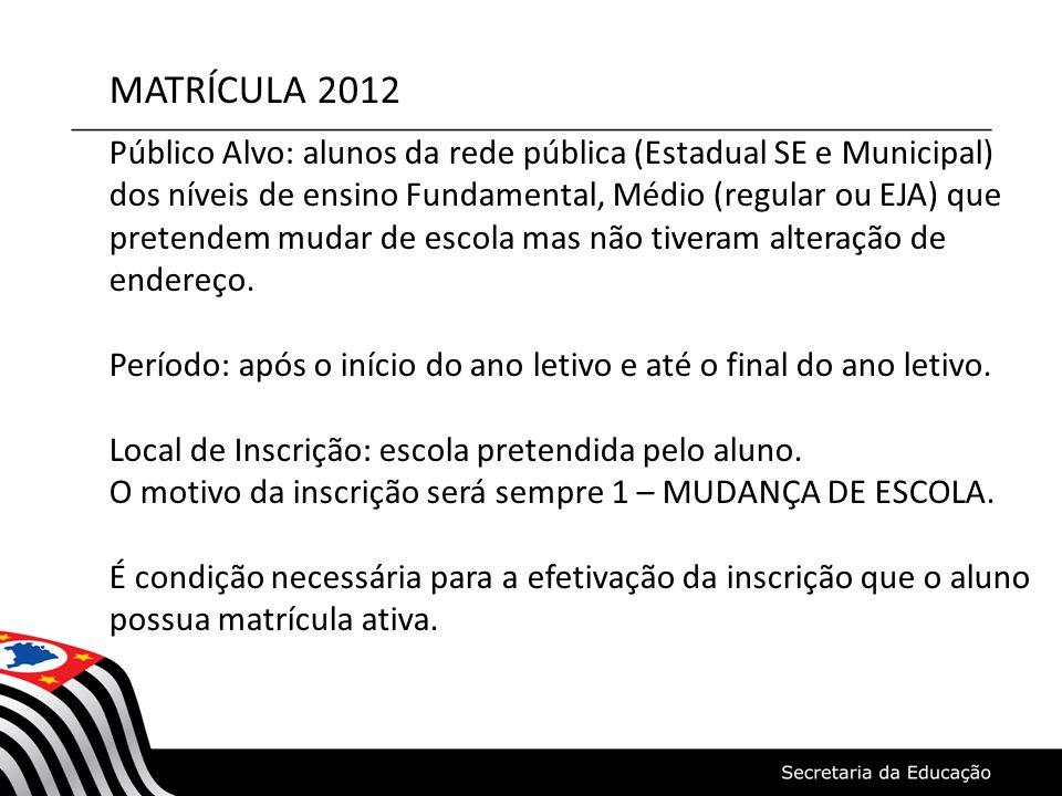 MATRÍCULA 2012 Público Alvo: alunos da rede pública (Estadual SE e Municipal) dos níveis de ensino Fundamental, Médio (regular ou EJA) que pretendem m