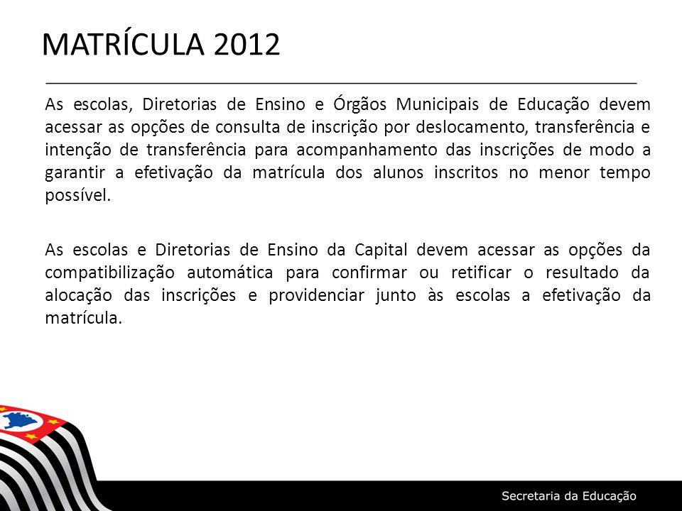 MATRÍCULA 2012 As escolas, Diretorias de Ensino e Órgãos Municipais de Educação devem acessar as opções de consulta de inscrição por deslocamento, tra