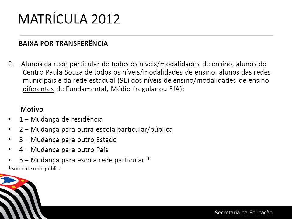MATRÍCULA 2012 BAIXA POR TRANSFERÊNCIA 2. Alunos da rede particular de todos os níveis/modalidades de ensino, alunos do Centro Paula Souza de todos os