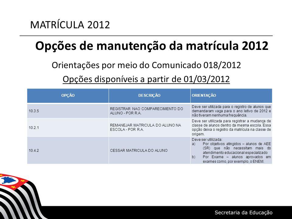 MATRÍCULA 2012 Opções de manutenção da matrícula 2012 Orientações por meio do Comunicado 018/2012 Opções disponíveis a partir de 01/03/2012 OPÇÃODESCR