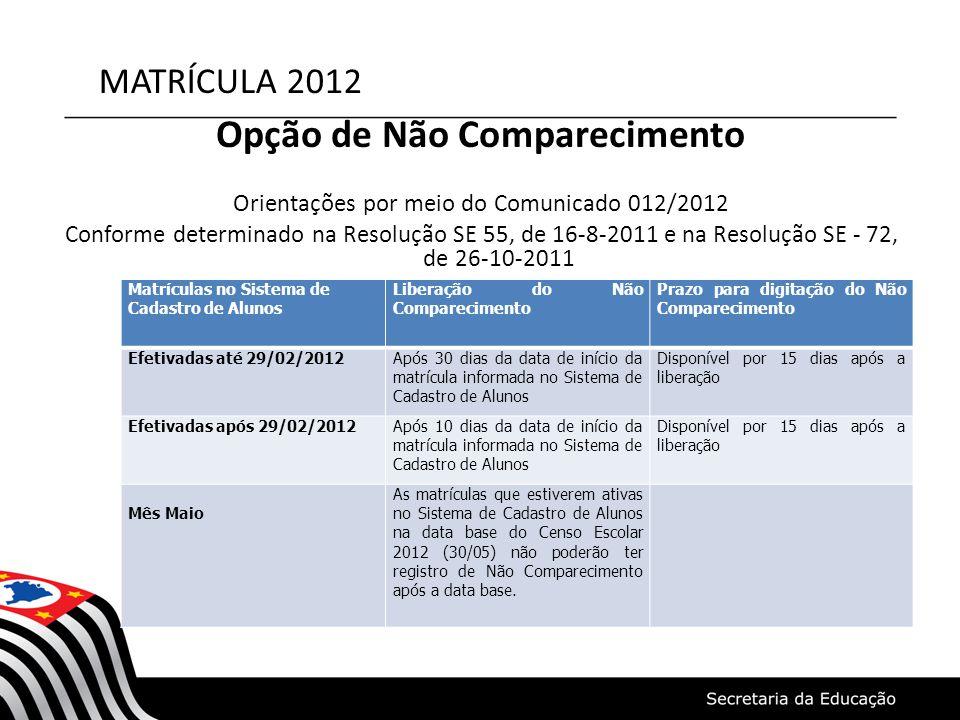 MATRÍCULA 2012 Opção de Não Comparecimento Orientações por meio do Comunicado 012/2012 Conforme determinado na Resolução SE 55, de 16-8-2011 e na Reso