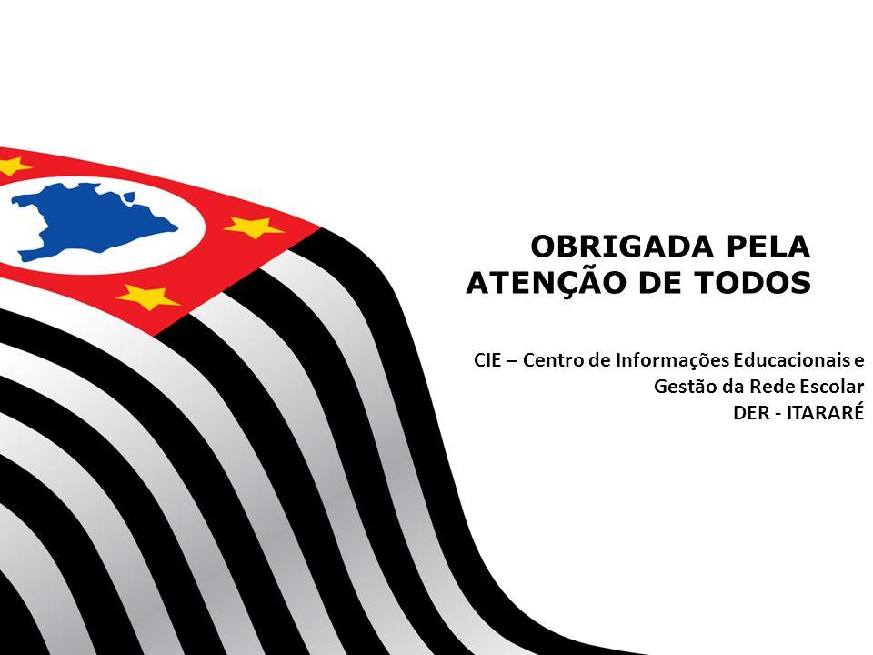 OBRIGADA PELA ATENÇÃO DE TODOS CIE – Centro de Informações Educacionais e Gestão da Rede Escolar DER - ITARARÉ
