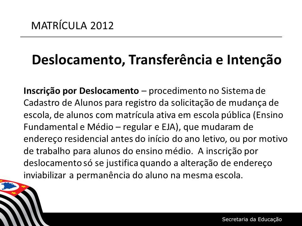 MATRÍCULA 2012 Deslocamento, Transferência e Intenção Inscrição por Deslocamento – procedimento no Sistema de Cadastro de Alunos para registro da soli