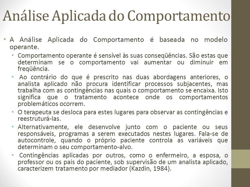Análise Aplicada do Comportamento • A Análise Aplicada do Comportamento é baseada no modelo operante. • Comportamento operante é sensível às sua