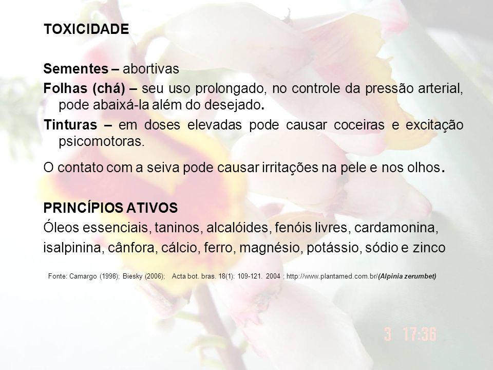 TOXICIDADE Sementes – abortivas Folhas (chá) – seu uso prolongado, no controle da pressão arterial, pode abaixá-la além do desejado. Tinturas – em dos
