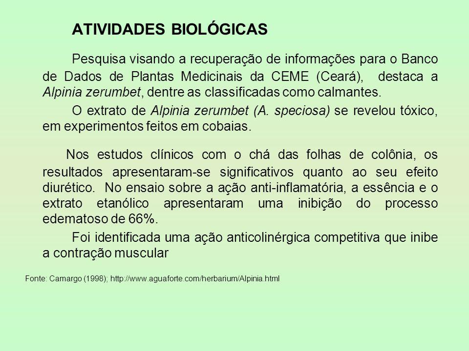 ATIVIDADES BIOLÓGICAS Pesquisa visando a recuperação de informações para o Banco de Dados de Plantas Medicinais da CEME (Ceará), destaca a Alpinia zer