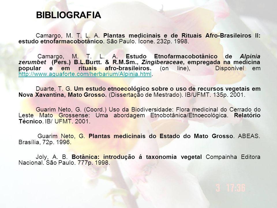BIBLIOGRAFIA Camargo, M. T. L. A. Plantas medicinais e de Rituais Afro-Brasileiros II: estudo etnofarmacobotânico. São Paulo. Ícone. 232p. 1998. Camar