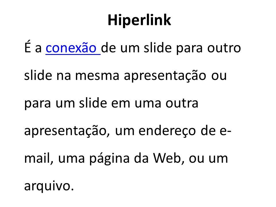 Hiperlink É a conexão de um slide para outro slide na mesma apresentação ou para um slide em uma outra apresentação, um endereço de e- mail, uma págin