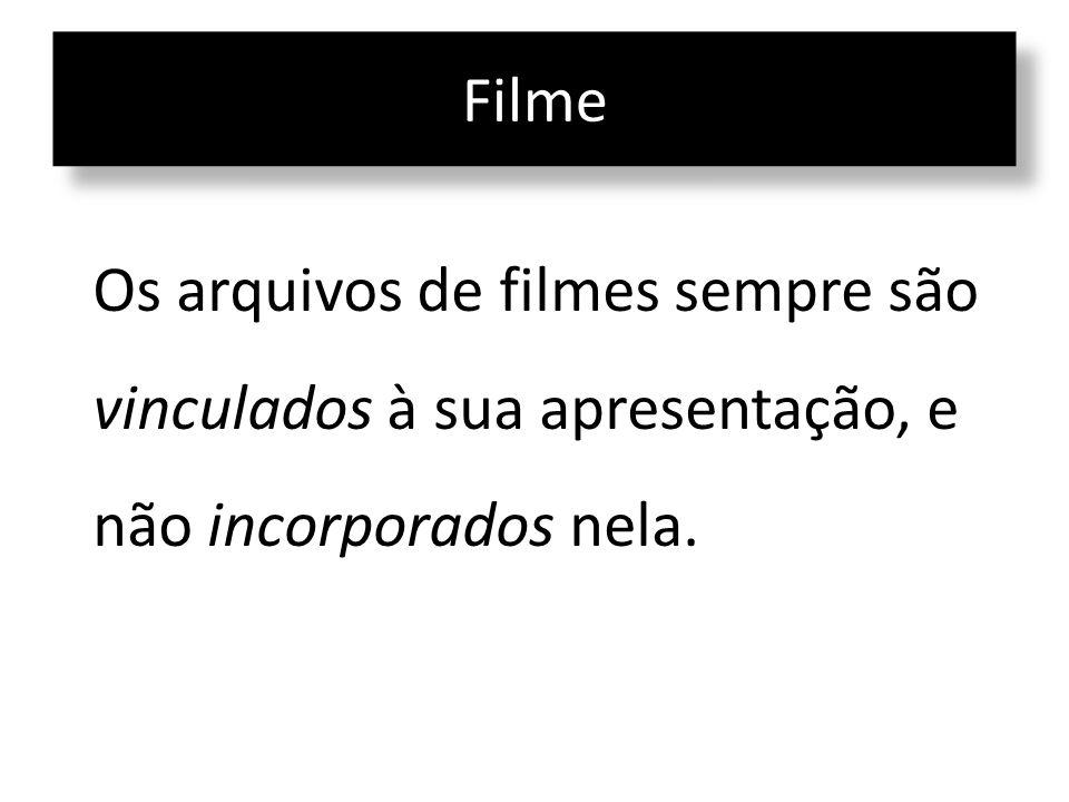 Os arquivos de filmes sempre são vinculados à sua apresentação, e não incorporados nela.
