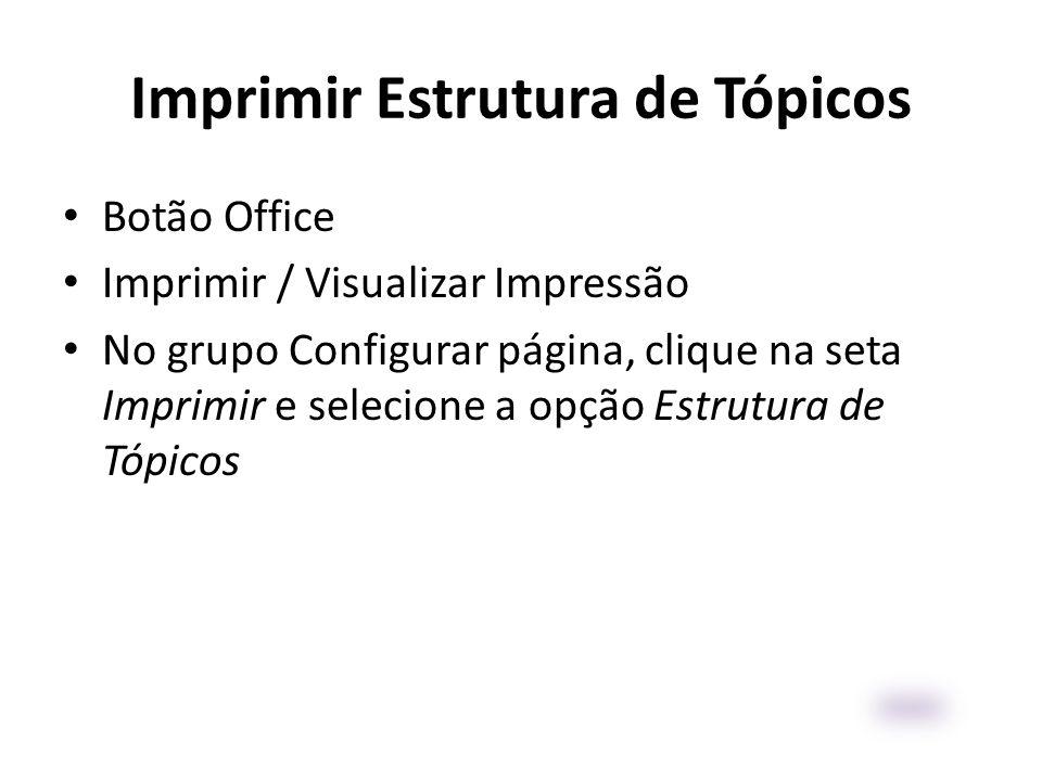 Imprimir Estrutura de Tópicos • Botão Office • Imprimir / Visualizar Impressão • No grupo Configurar página, clique na seta Imprimir e selecione a opç