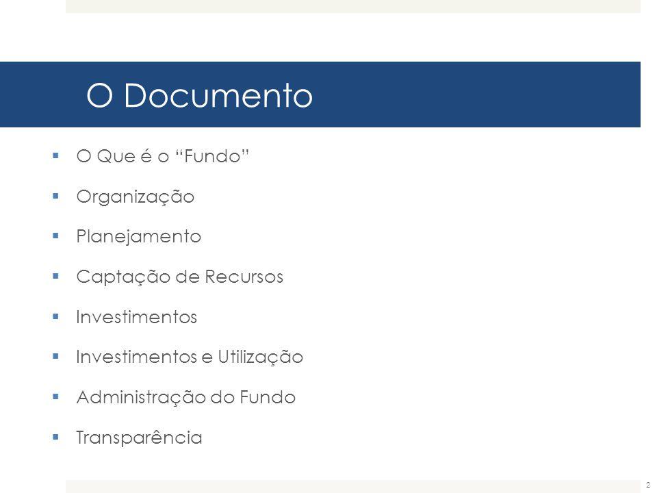 """O Documento  O Que é o """"Fundo""""  Organização  Planejamento  Captação de Recursos  Investimentos  Investimentos e Utilização  Administração do Fu"""