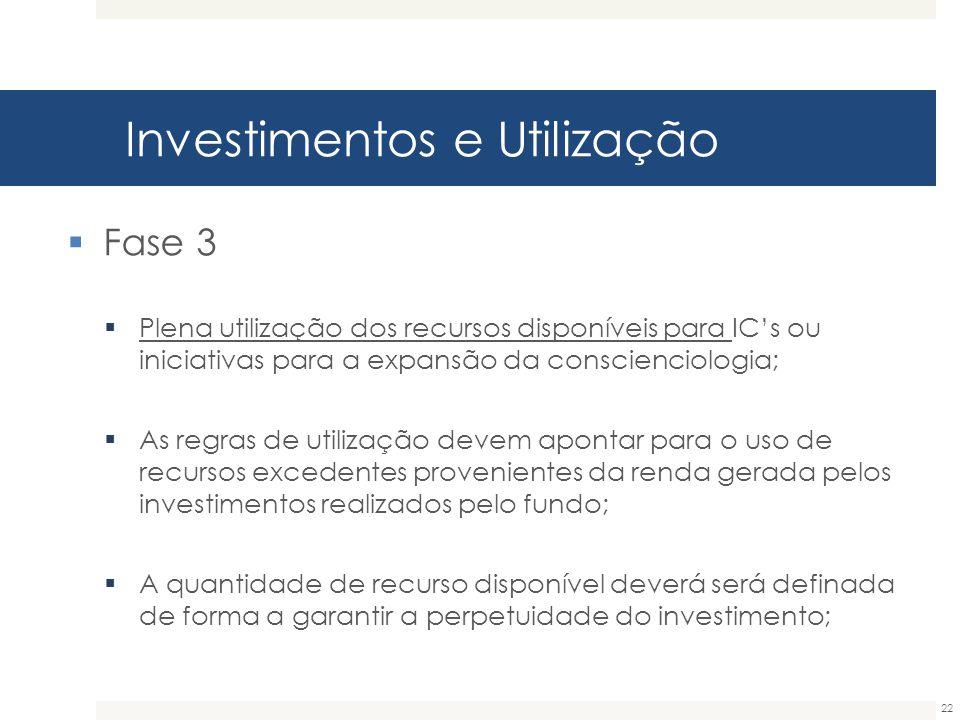 Investimentos e Utilização 22  Fase 3  Plena utilização dos recursos disponíveis para IC's ou iniciativas para a expansão da conscienciologia;  As