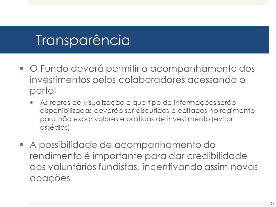 Transparência 23  O Fundo deverá permitir o acompanhamento dos investimentos pelos colaboradores acessando o portal  As regras de visualização e que