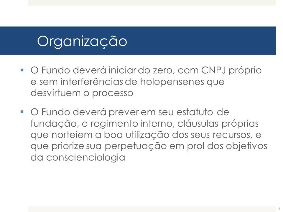 Organização 4  O Fundo deverá iniciar do zero, com CNPJ próprio e sem interferências de holopensenes que desvirtuem o processo  O Fundo deverá preve