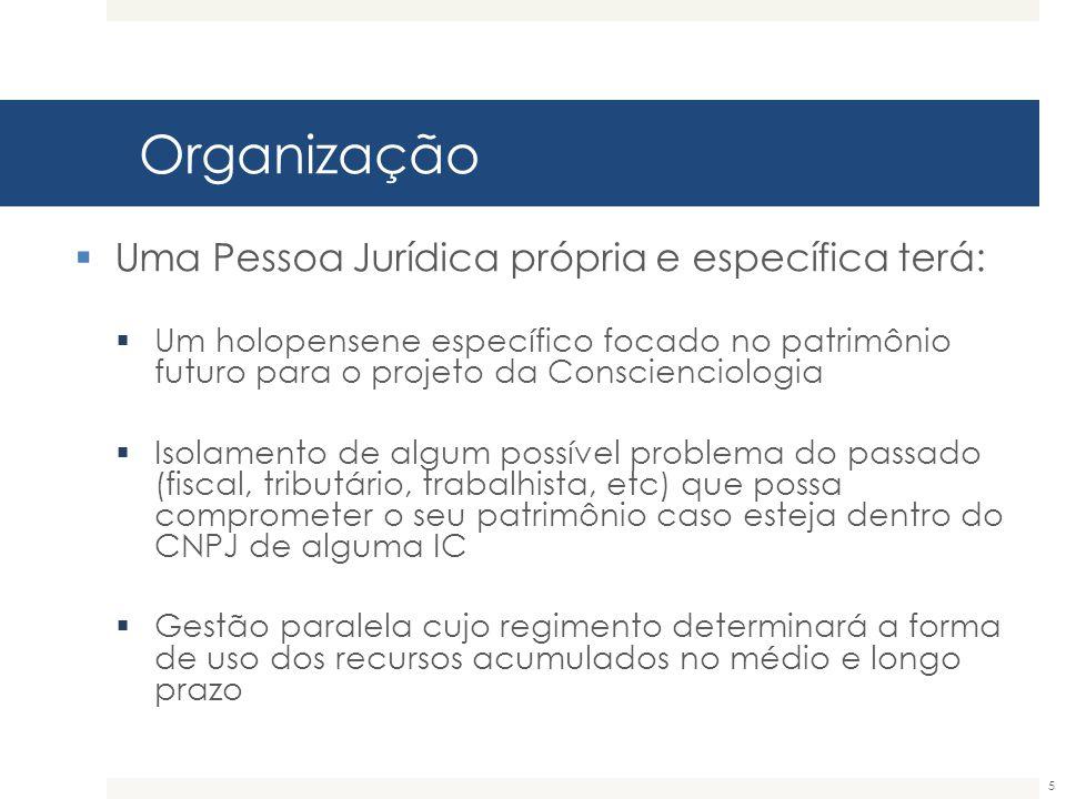 Organização 5  Uma Pessoa Jurídica própria e específica terá:  Um holopensene específico focado no patrimônio futuro para o projeto da Conscienciolo