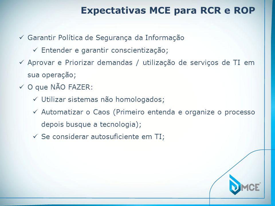 Expectativas MCE para RCR e ROP  Garantir Política de Segurança da Informação  Entender e garantir conscientização;  Aprovar e Priorizar demandas /