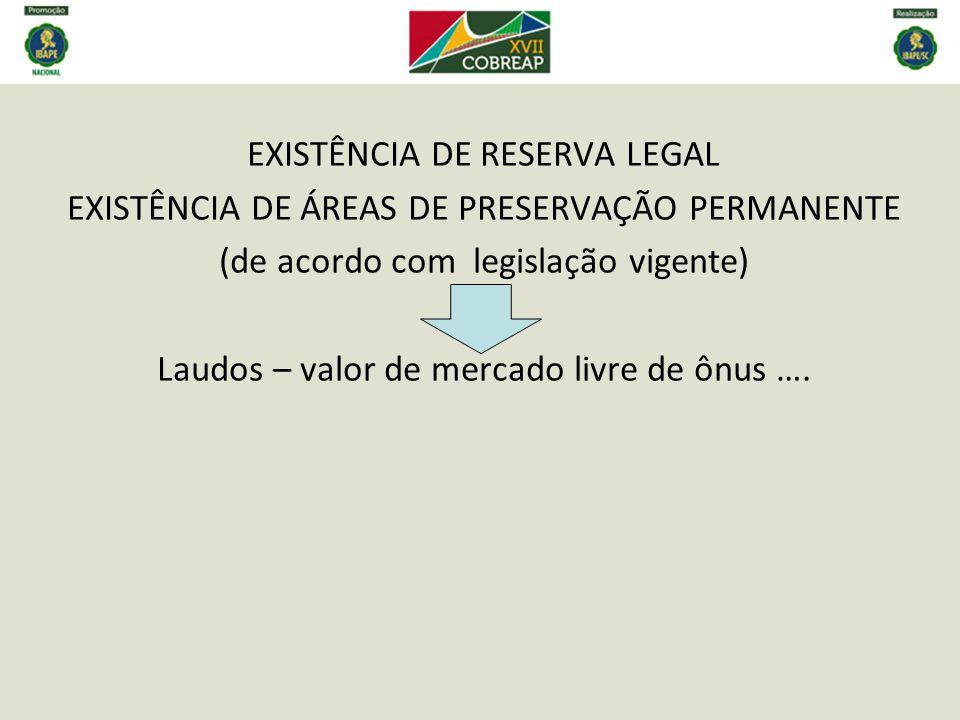 EXISTÊNCIA DE RESERVA LEGAL EXISTÊNCIA DE ÁREAS DE PRESERVAÇÃO PERMANENTE (de acordo com legislação vigente) Laudos – valor de mercado livre de ônus ….
