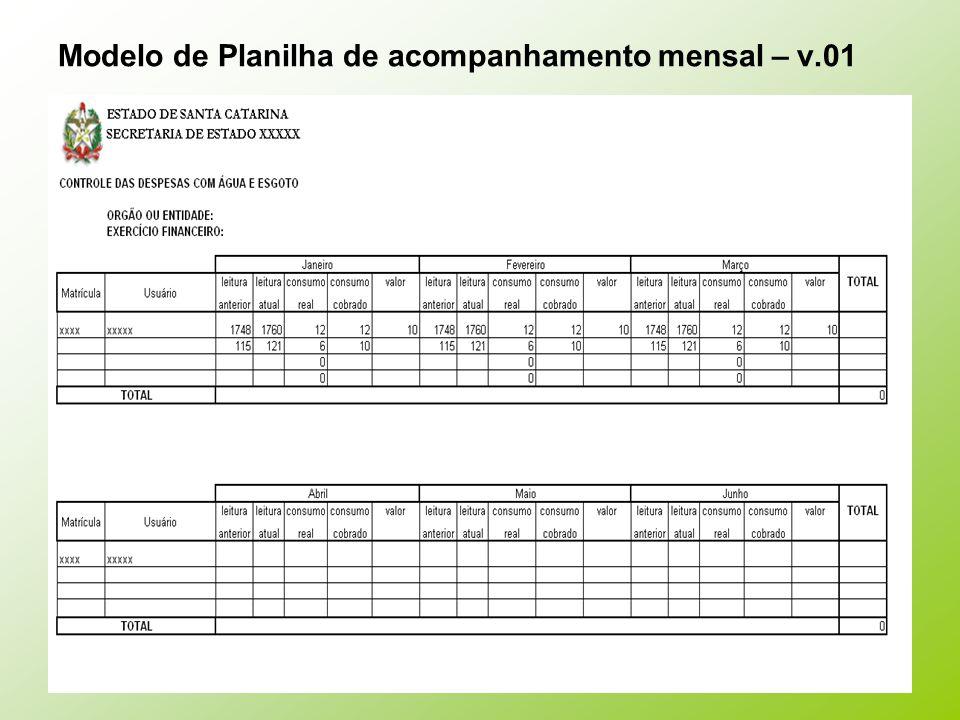 Modelo de Planilha de acompanhamento mensal – v.01