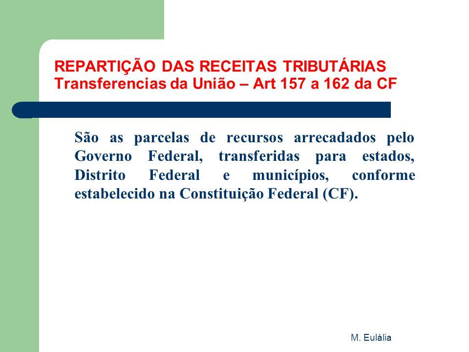 M. Eulália REPARTIÇÃO DAS RECEITAS TRIBUTÁRIAS Transferencias da União – Art 157 a 162 da CF São as parcelas de recursos arrecadados pelo Governo Fede