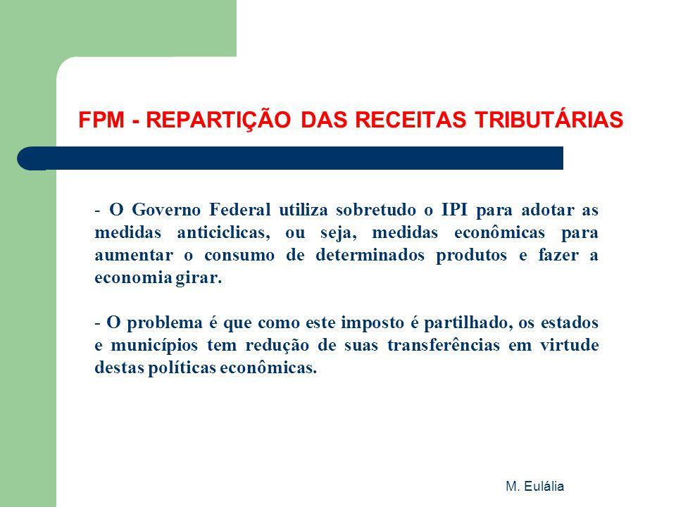 M. Eulália FPM - REPARTIÇÃO DAS RECEITAS TRIBUTÁRIAS - O Governo Federal utiliza sobretudo o IPI para adotar as medidas anticiclicas, ou seja, medidas