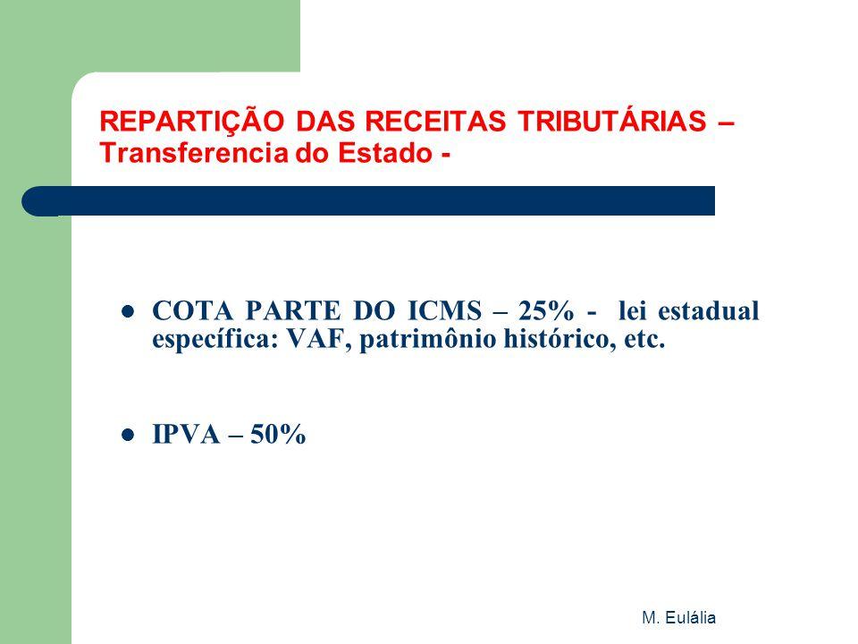 M. Eulália REPARTIÇÃO DAS RECEITAS TRIBUTÁRIAS – Transferencia do Estado -  COTA PARTE DO ICMS – 25% - lei estadual específica: VAF, patrimônio histó