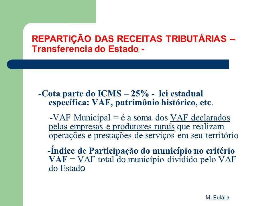 M. Eulália REPARTIÇÃO DAS RECEITAS TRIBUTÁRIAS – Transferencia do Estado - -Cota parte do ICMS – 25% - lei estadual específica: VAF, patrimônio histór
