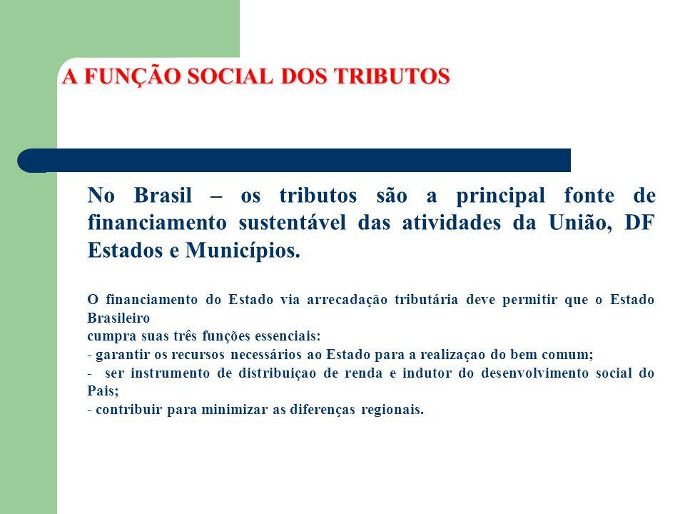 A FUNÇÃO SOCIAL DOS TRIBUTOS No Brasil – os tributos são a principal fonte de financiamento sustentável das atividades da União, DF Estados e Municípi