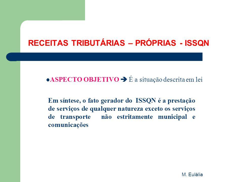 M. Eulália RECEITAS TRIBUTÁRIAS – PRÓPRIAS - ISSQN  ASPECTO OBJETIVO  É a situação descrita em lei Em síntese, o fato gerador do ISSQN é a prestação