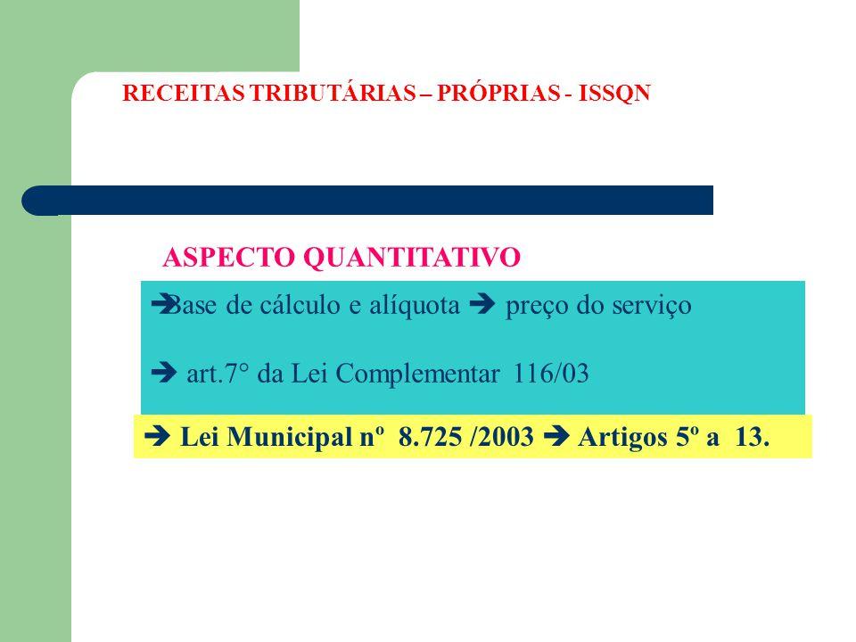 ASPECTO QUANTITATIVO  Base de cálculo e alíquota  preço do serviço  art.7° da Lei Complementar 116/03  Lei Municipal nº 8.725 /2003  Artigos 5º a