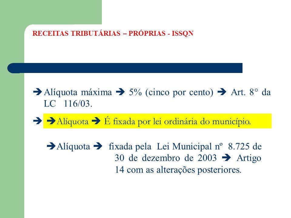  Alíquota máxima  5% (cinco por cento)  Art. 8° da LC 116/03.  Alíquota mínima  2% (dois por cento)  EC 37/03.  Alíquota  É fixada por lei ord