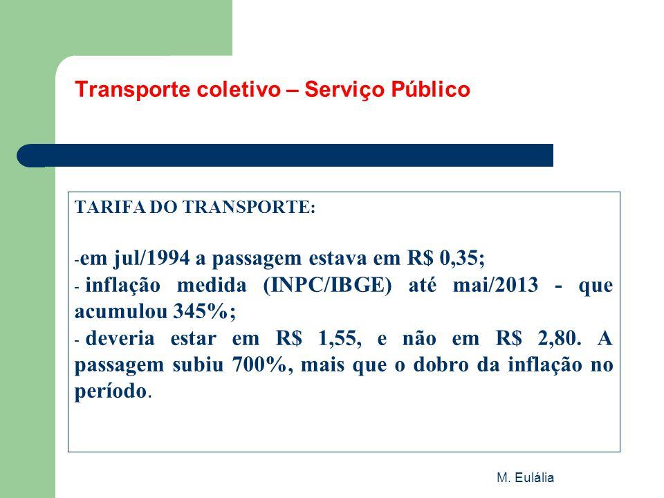 M. Eulália Transporte coletivo – Serviço Público TARIFA DO TRANSPORTE: - em jul/1994 a passagem estava em R$ 0,35; - inflação medida (INPC/IBGE) até m