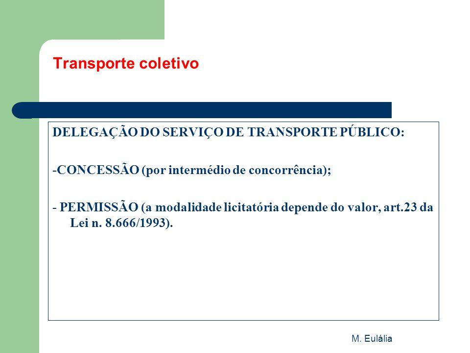 M. Eulália Transporte coletivo DELEGAÇÃO DO SERVIÇO DE TRANSPORTE PÚBLICO: -CONCESSÃO (por intermédio de concorrência); - PERMISSÃO (a modalidade lici