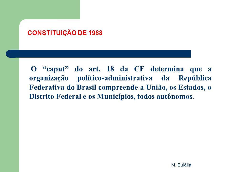 """M. Eulália CONSTITUIÇÃO DE 1988 O """"caput"""" do art. 18 da CF determina que a organização político-administrativa da República Federativa do Brasil compr"""