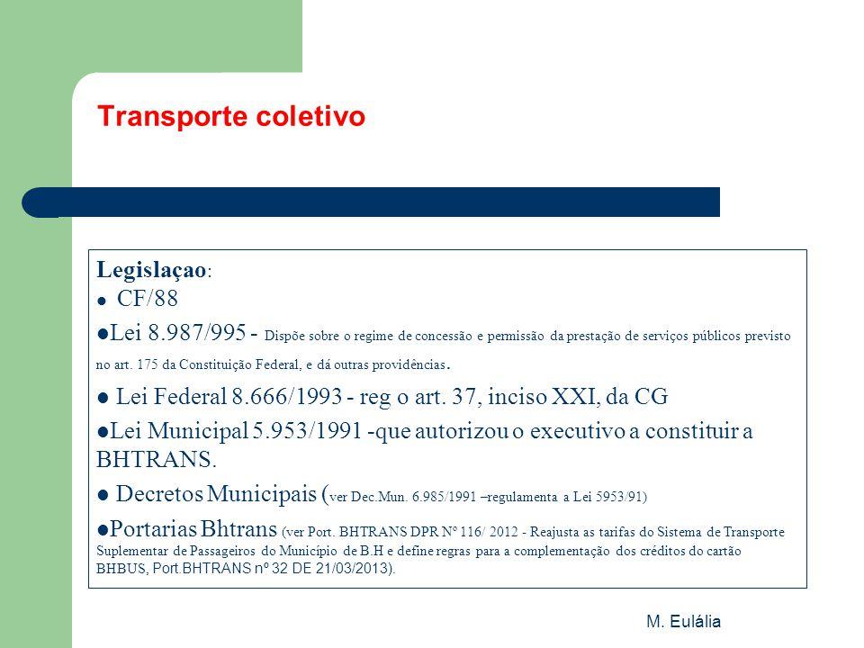 M. Eulália Transporte coletivo Legislaçao :  CF/88  Lei 8.987/995 - Dispõe sobre o regime de concessão e permissão da prestação de serviços públicos