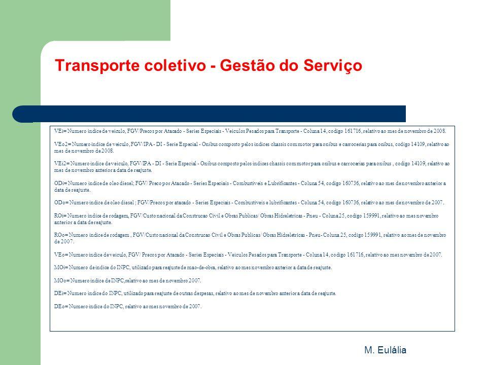 M. Eulália Transporte coletivo - Gestão do Serviço VEi= Numero indice de veiculo, FGV/Precos por Atacado - Series Especiais - Veiculos Pesados para Tr